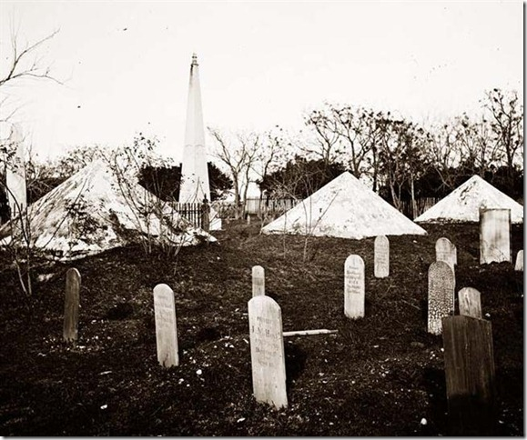 "Graveyard of soldiers' graves in Savannah, GA, taken in 1865. The Civil War was 150 years ago and the memorials still feel very ""our side"" and ""their side""."