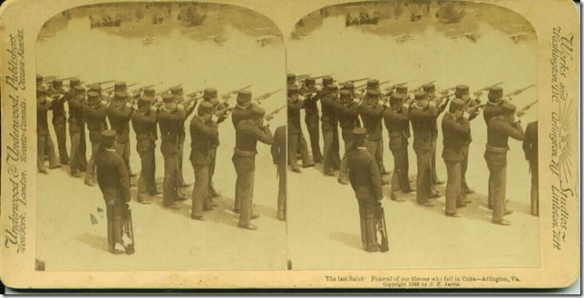 This is a stereogram of a 21-gun salute to soldiers who died in the Spanish-American War. Taken in 1899.