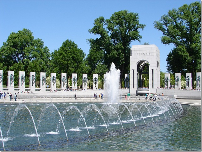 This is the World War II memorial in Washington, DC, which opened a couple of years ago. It's located at the far end of the reflecting pool opposite the Lincoln Memorial. For all the visitors, it's a very peaceful place. Many people sit on the edge of the water and put their feet in, although they're discouraged by some of the signage. But in a way it's a form of communing with those to whom it's dedicated. There's a lot of detail that can't be captured in the larger photographs.